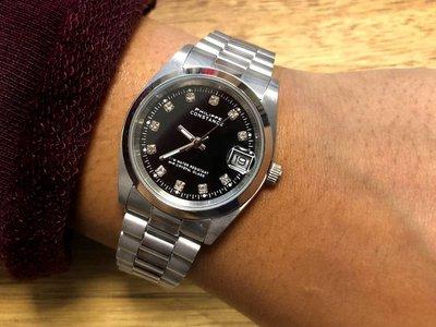 Stalen Philippe Constance Horloge Philippe Constance Stalen Dameshorloge - 7550 Medium - Zilver - Zwart - Strass - Schakelband - Datumaanduiding
