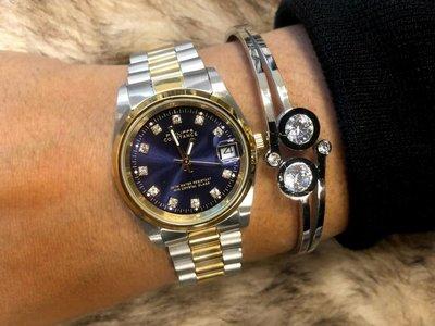 Stalen Philippe Constance Horloge Philippe Constance Stalen Dameshorloge - 7250 Medium - Bicolor - Goud - Zilver - Strass - Schakelband - Datumaanduiding