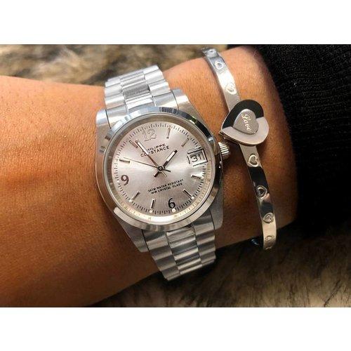 Stalen Philippe Constance Horloge Philippe Constance Stalen Dameshorloge - 7990 Medium - Zilver - Schakelband - Datumaanduiding