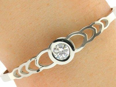 "Bukovsky Stainless Steel Jewelry Stalen Dames Armband ""Sophia"" - Zilverkleur - Strass - Gepolijst Stainless Steel"
