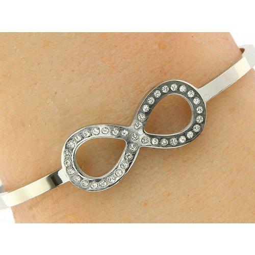 """Bukovsky Stainless Steel Jewelry Stalen Dames Armband """"Infinity"""" - Deluxe - Zilverkleur - Strass - Gepolijst Stainless Steel"""