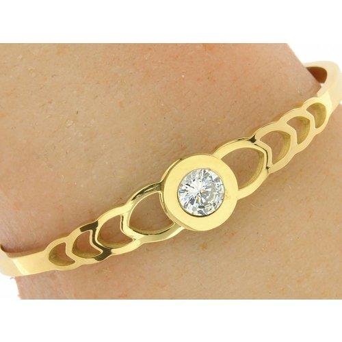 "Bukovsky Stainless Steel Jewelry Stalen Dames Armband ""Sophia"" - Goudkleur - Strass - Gepolijst Stainless Steel"