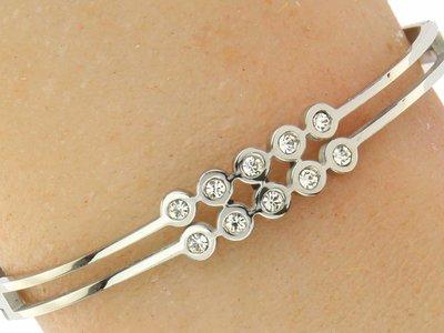 """Bukovsky Stainless Steel Jewelry Stalen Dames Armband """"Diana"""" Deluxe - Zilverkleur - Strass - Gepolijst Stainless Steel"""