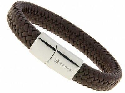 Bukovsky Stainless Steel Jewelry Leder/Staal Heren Armband Bukovsky SL6550 - Donkerbruin- Gevlochten Leer - Gepolijste 316L  Stalen Sluiting