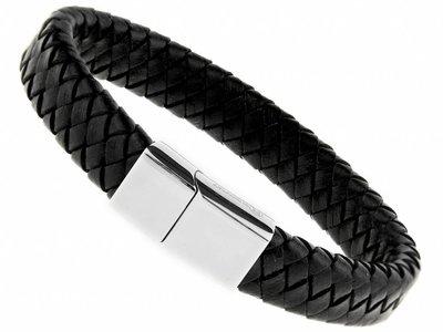 Bukovsky Stainless Steel Jewelry Leder/Staal Heren Armband Bukovsky SL6750 - Zwart - Gevlochten Leer - Gepolijste 316L Stalen Sluiting