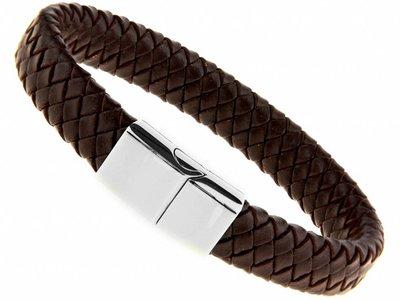 Bukovsky Stainless Steel Jewelry Leder/Staal Heren Armband Bukovsky SL6750 - Donkerbruin - Gevlochten Leer - Gepolijste 316L Stalen Sluiting