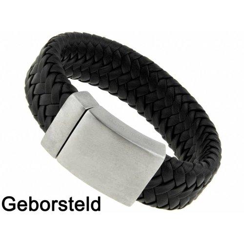 Bukovsky Stainless Steel Jewelry Brede Gevlochten Leder/Staal Heren Armband Bukovsky SL8870 - Zwart - Gevlochten Leer - Geborstelde 316L Stalen Sluiting - Vanaf € 37,50