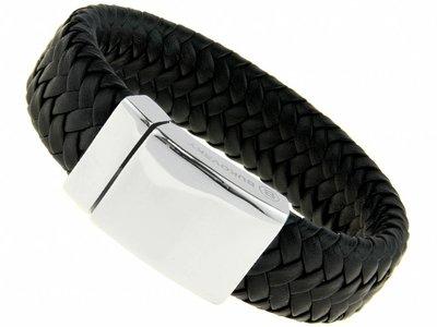 Bukovsky Stainless Steel Jewelry Brede Gevlochten Leder/Staal Heren Armband Bukovsky SL8870 - Zwart - Gevlochten Leer - Gepolijste 316L Stalen Sluiting - Vanaf € 37,50