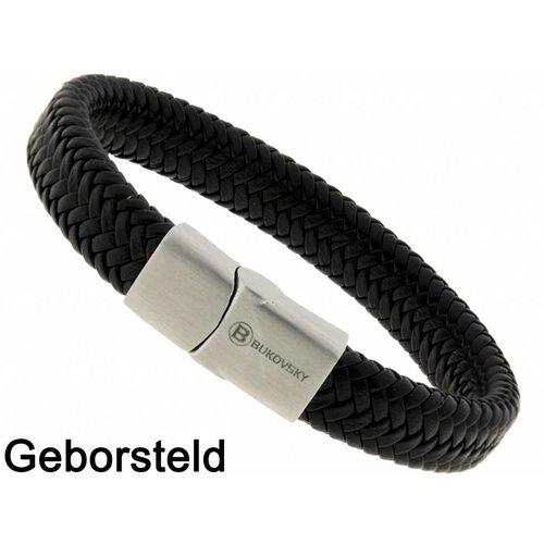 Bukovsky Stainless Steel Jewelry Leder/Staal Heren Armband Bukovsky SL6670 - Zwart - Gevlochten Leer - Geborstelde 316L Stalen Sluiting