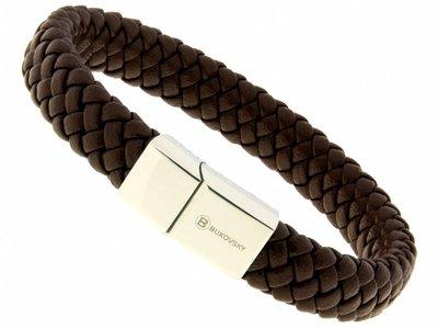 Bukovsky Stainless Steel Jewelry Leder/Staal Heren Armband Bukovsky SL6940 - Donkerbruin - Gevlochten Leer - Gepolijste 316L Stalen Sluiting