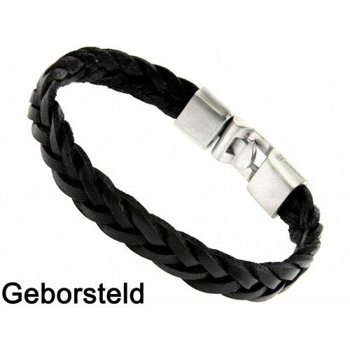 Bukovsky Stainless Steel Jewelry Leder/Staal Heren Armband Bukovsky SL7250 - Zwart - Gevlochten Leer - Geborstelde 316L Stalen Sluiting