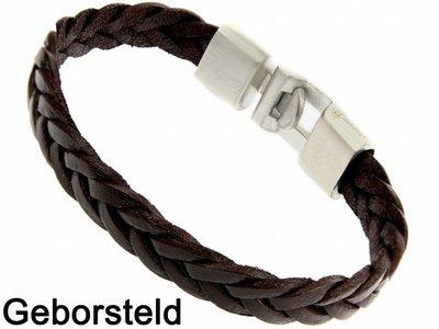 Bukovsky Stainless Steel Jewelry Leder/Staal Heren Armband Bukovsky SL7250 - Donkerbruin - Gevlochten Leer - Geborstelde 316L Stalen Sluiting