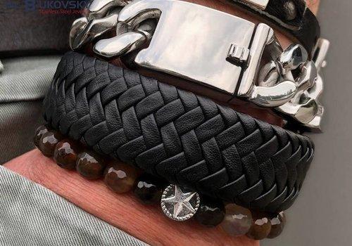 Leder/Staal Bukovsky Heren Armbanden