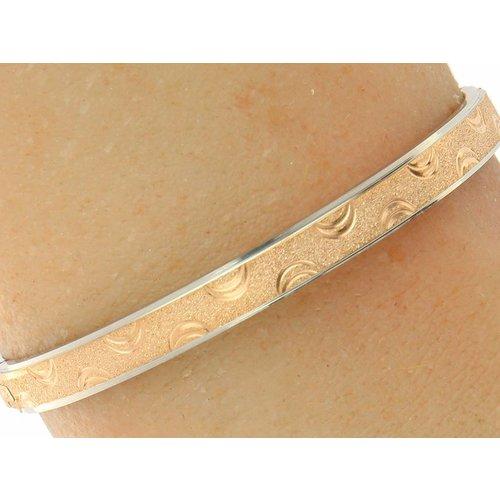 "Bukovsky Stainless Steel Jewelry Stalen Dames Armband zonder Tekst - ""Lagoon"" - Bi-Color - Sanded Glitter - Roséplating"