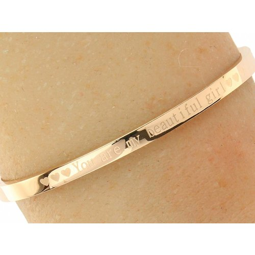 """Bukovsky Stainless Steel Jewelry Stalen Dames Quote Armband """"You Are My Beautiful Girl"""" - Roséplating - Gepolijst Stainless Steel"""
