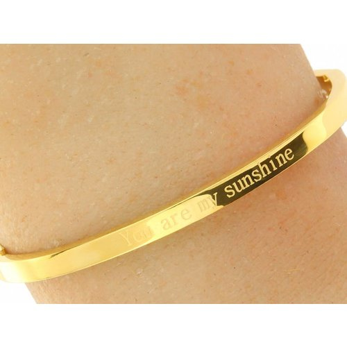 "Bukovsky Stainless Steel Jewelry Stalen Dames Tekst Armband ""You Are My Sunshine"" - Goldplating - Gepolijst - Rvs"