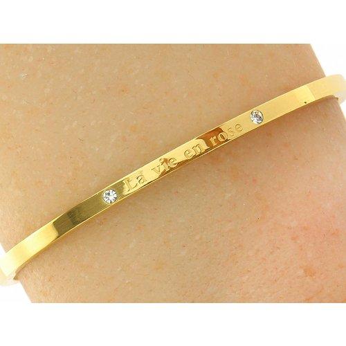 "Bukovsky Stainless Steel Jewelry Stalen Dames Tekst Armband ""La Vie en Rose"" - Goldplating - Strass - Gepolijst Rvs"