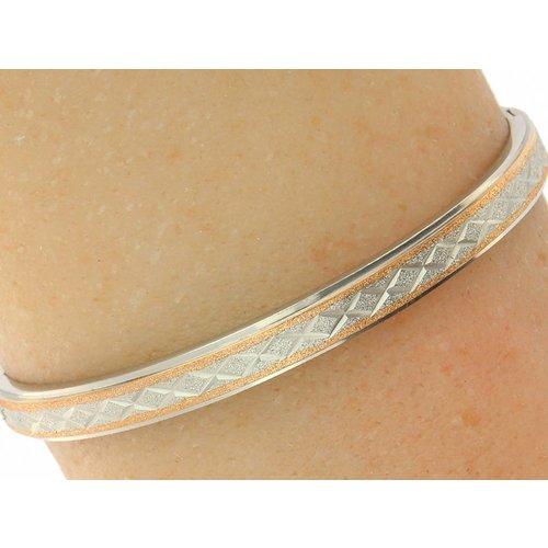 """Bukovsky Stainless Steel Jewelry Stalen Dames Armband met Textuur """"Aurora"""" - Bicolor - Zilver - Rosé - Gepolijst"""