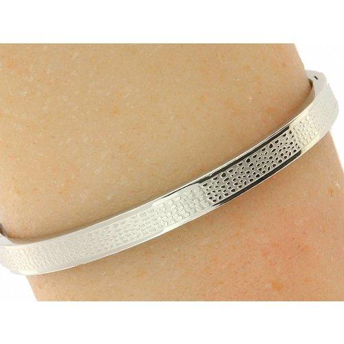 """Bukovsky Stainless Steel Jewelry Stalen Dames Armband met Textuur """"Snake"""" - Zilverkleur - Gepolijst - Rvs - Staal"""