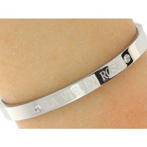 "Bukovsky Stainless Steel Jewelry Stalen Dames Armband ""La Vie En Rose"" - Zilverkleur - Strass - Gepolijst Stainless Steel - Rvs"