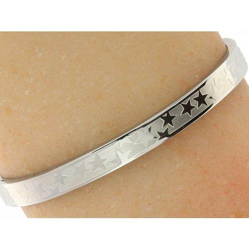 """Bukovsky Stainless Steel Jewelry Stalen Dames Armband met Symbool """"Free Stars"""" - Zilverkleur - Gepolijst - Rvs - Staal"""