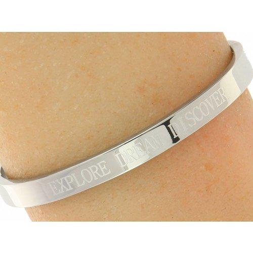 """Bukovsky Stainless Steel Jewelry Stalen Dames Quote Armband met Tekst """"Explore Dream Discover"""" - Zilverkleur - Gepolijst - Rvs"""