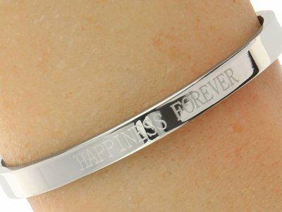 """Bukovsky Stainless Steel Jewelry Stalen Dames Quote Armband met Tekst """"Happiness Forever"""" - Zilverkleur - Gepolijst - Rvs"""