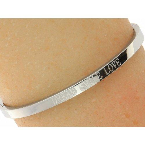 """Bukovsky Stainless Steel Jewelry Stalen Dames Quote Armband """"Dream Smile Love"""" - Zilverkleur- Gepolijst - Roestvrij Staal"""