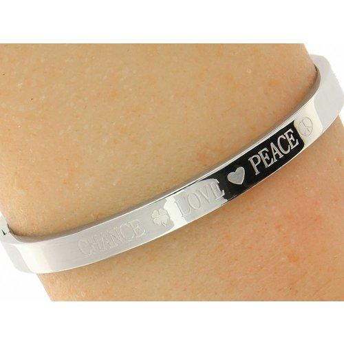 """Bukovsky Stainless Steel Jewelry Stalen Dames Quote Armband met Tekst """"Chance Love Peace"""" - Zilverkleur - Gepolijst - Rvs"""