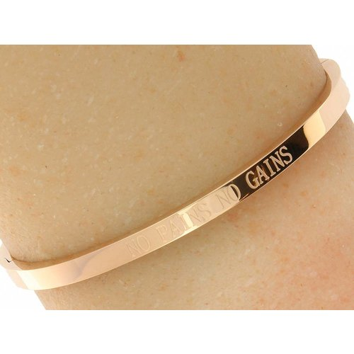 "Bukovsky Stainless Steel Jewelry Stalen Dames Quote Armband ""No Pains No Gains"" - Roséplating - Gepolijst Stainless Steel"