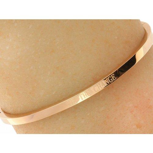 "Bukovsky Stainless Steel Jewelry Stalen Dames Tekst Armband ""Be The Change"" - Roséplating - Gepolijst Stainless Steel"