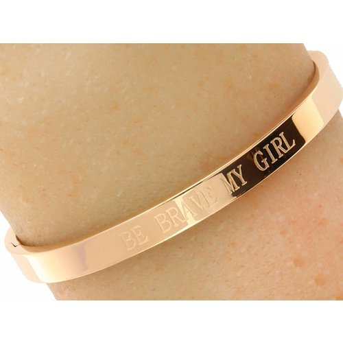 "Bukovsky Stainless Steel Jewelry Dames Quote Armband ""Be Brave My Girl"" - Roséplating - Gepolijst Stainless Steel"