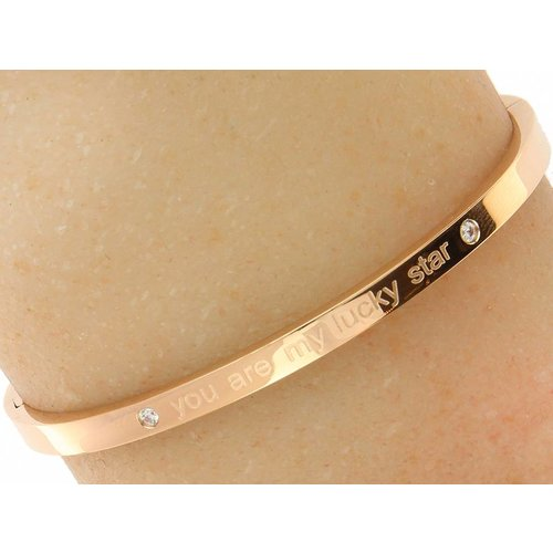 "Bukovsky Stainless Steel Jewelry Stalen Dames Tekst Armband ""You Are My Lucky Star"" - Roséplating - Strass - Gepolijst - Rvs"