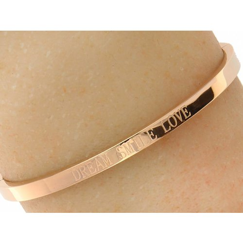 "Bukovsky Stainless Steel Jewelry Stalen Dames Tekst Armband ""Dream Smile Love"" - Roséplating - Gepolijst Stainless Steel"