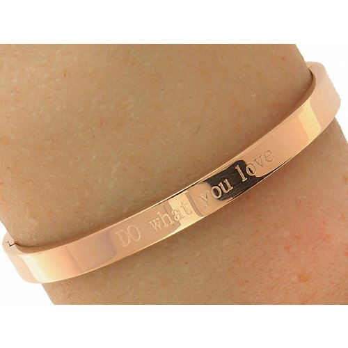 "Bukovsky Stainless Steel Jewelry Stalen Dames Tekst Armband ""Do What You Love"" - Roséplating - Gepolijst Stainless Steel"