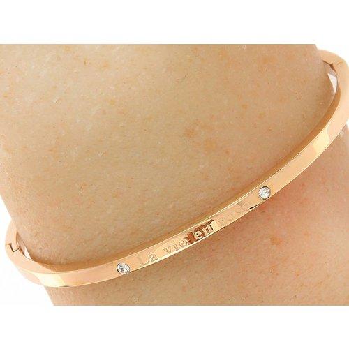 "Bukovsky Stainless Steel Jewelry Stalen Dames Tekst Armband ""La Vie en Rose"" - Roséplating - Strass - Gepolijst Rvs"