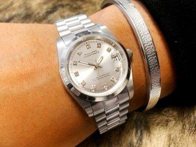 Stalen Philippe Constance Horloge Philippe Constance - Dameshorloge - 7710 Medium - Staal - Zilver - Metallic - Strass - Schakelband - Datumaanduiding