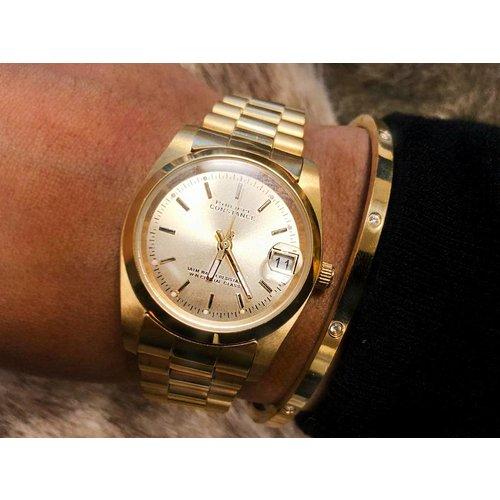 Stalen Philippe Constance Horloge Philippe Constance Dameshorloge - 7070 Medium - Staal - Goud - Metallic - Schakelband - Datumaanduiding