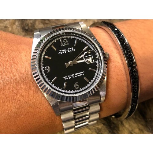 Stalen Philippe Constance Horloge Philippe Constance - Dameshorloge - 3150 Large - Staal - Zilver - Zwart - Serrated - Datumaanduiding