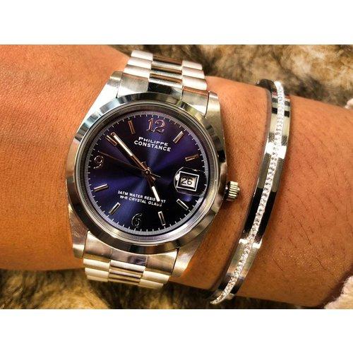 Stalen Philippe Constance Horloge Philippe Constance - Dameshorloge - 4025 Large - Staal - Zilver - Indigo Blauw - Schakelband - Datumaanduiding