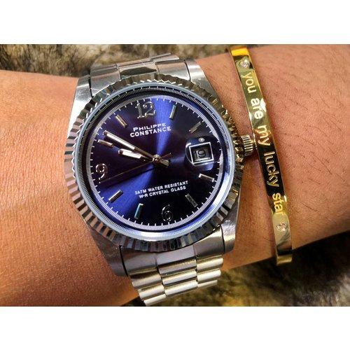 Stalen Philippe Constance Horloge Philippe Constance - Dameshorloge - 4450 Large - Staal - Zilver - Indigo Blauw - Serrated - Schakelarmband - Datumaanduiding