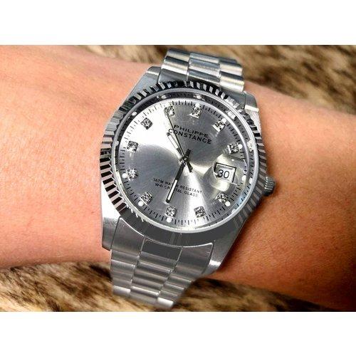 Stalen Philippe Constance Horloge Philippe Constance - Dameshorloge - 4465 Large - Staal - Zilver - Metallic - Strass - Serrated
