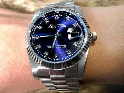 Stalen Philippe Constance Horloge Philippe Constance - Dameshorloge - 4470 Large - Staal - Zilver - Indigo Blauw - Strass - Serrated