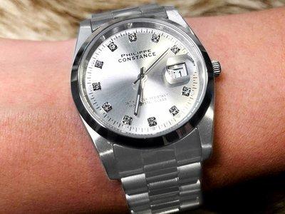 Stalen Philippe Constance Horloge Philippe Constance - Dameshorloge - 4725 Large - Staal - Zilver - Metallic - Strass - Datumaanduiding