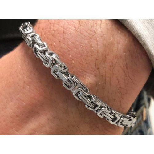 Bukovsky Stainless Steel Jewelry Stalen Heren Armband Bukovsky S7445 - Koningsschakel - Gepolijst - Breedte: 0,5 cm - Dikte: 0,5 cm - Gratis Verzending