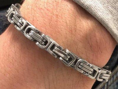 Bukovsky Stainless Steel Jewelry Stalen Heren Armband Bukovsky S7455 - Koningsschakel - Geborsteld- Breedte: 0,7 cm - Dikte: 0,7 cm - Gratis Verzending