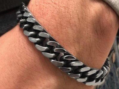 Bukovsky Stainless Steel Jewelry Stalen Heren Armband Bukovsky S7495 - Gourmette schakel - Gepolijst - Black Oiled - Breedte:  1,0 cm - Dikte: 0,4 cm - Gratis Verzending