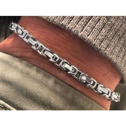 Bukovsky Stainless Steel Jewelry Stalen Heren Armband Bukovsky S7405 - Koningsschakel - Gepolijst - Breedte: 0,4 cm - Dikte: 0,4 cm - Gratis Verzending