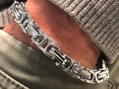 Bukovsky Stainless Steel Jewelry Stalen Heren Armband Bukovsky S7475 - Koningsschakel - Gepolijst - Breedte: 0,8 cm - Dikte: 0,8 cm - Gratis Verzending