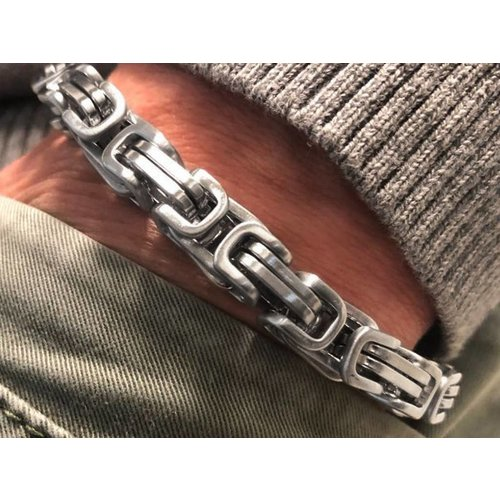 Bukovsky Stainless Steel Jewelry Stalen Heren Armband Bukovsky S7475 - Koningsschakel - Geborsteld - Breedte: 0,8 cm - Dikte: 0,8 cm - Gratis Verzending